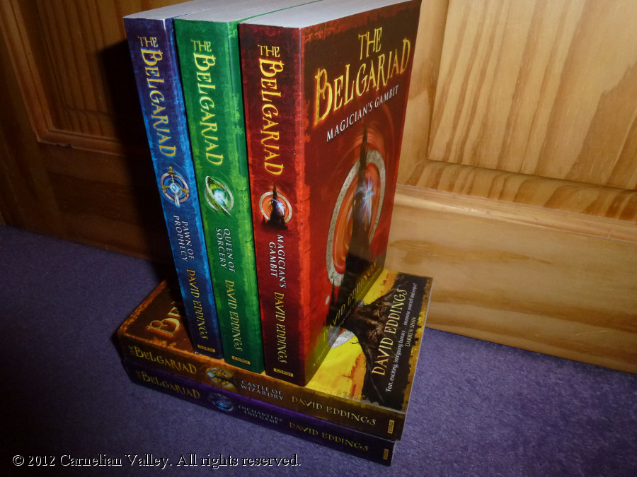 A photo of David Eddings's book series The Belgariad